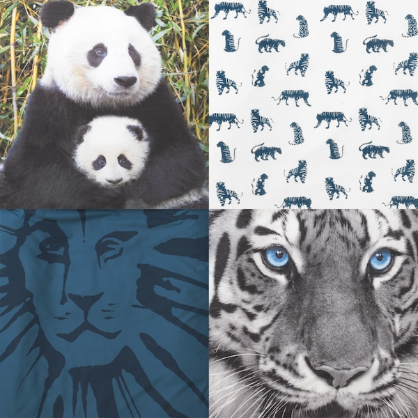 Prints and patterns featuring pandas, tigers, lions and leopards.
