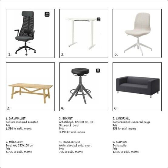 Product collage. Suggestions for furniture, lighting, carpets and textiles that fit in the environment.