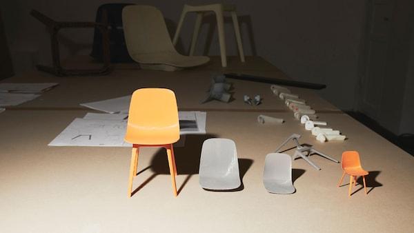 Prototyp stoličky, jednotlivé diely a výsledný dizajn
