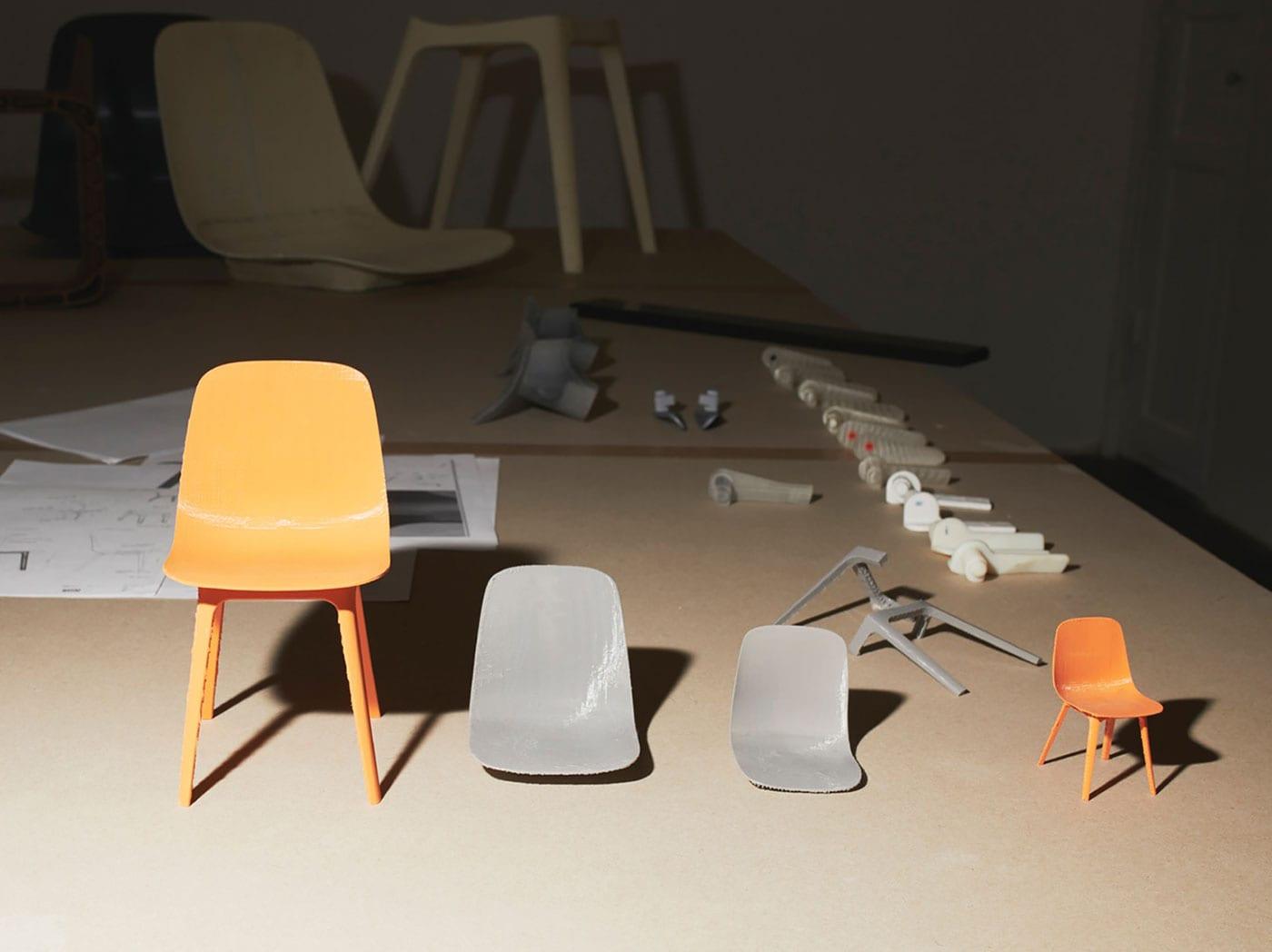 Prototyp židle, jednotlivé díly a výsledný design