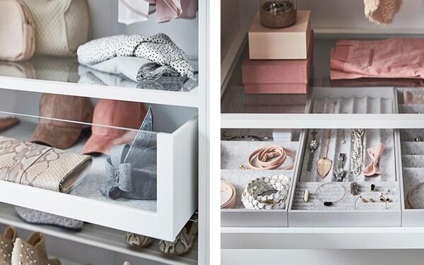 przykłady wyposażenia wewnętrznego szafy PAX - szuflaa i koszyki