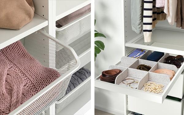 przykłady wyposażenia wewnętrznego szafy PAX - wieszak na spodnie oraz półka na buty