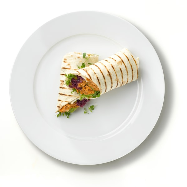 pulled salmon wrap.