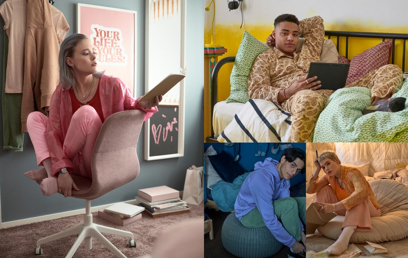 Quatre étudiants installés de différentes façons pour travailler: sur une chaise, un canapé-lit ou un pouf.