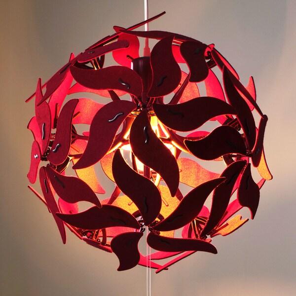 RAMSELE Függőlámpa, virág, sötétpiros, 43 cm.