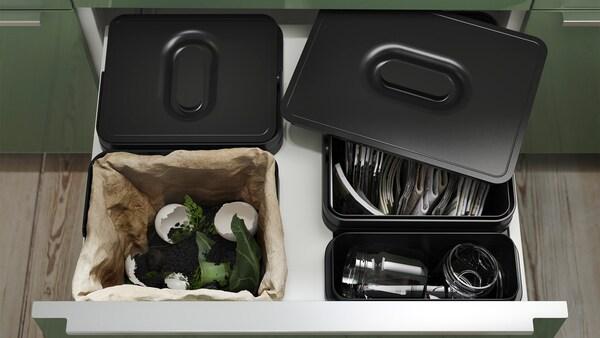 раздельная сортировка мусора на кухне