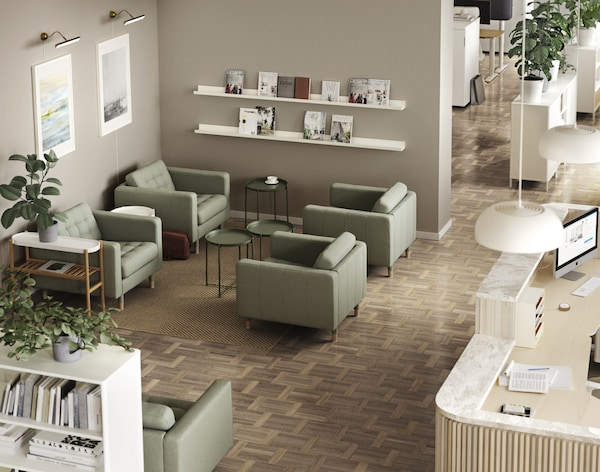 Reception waiting area with LANDSKRONA armchairs.