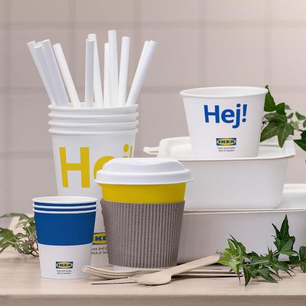 Recipientes para alimentos, vasos, pajitas y cubiertos de IKEA fabricados con materiales 100% renovables.
