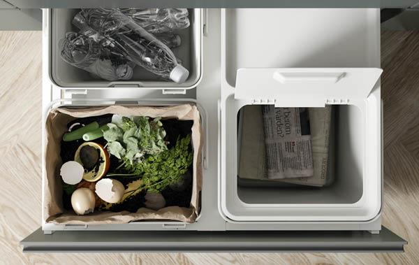 Recyclingstation in einer Schublade, u. a. mit HÅLLBAR für Abfalltrennung