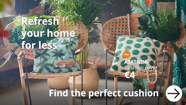 Refresh your home for less. 2 arm chair with the new ÅSATILDA cushion cover