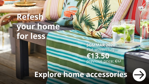 Refresh your home for less. a bench furnished with colourful SOMMAR cushions and rug.