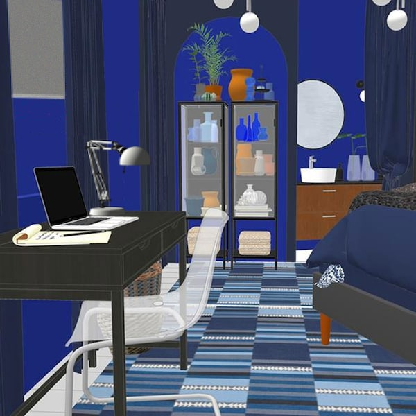Rendering of blue bedroom. Close up of black desk with clear chair. Black display cabinet in background