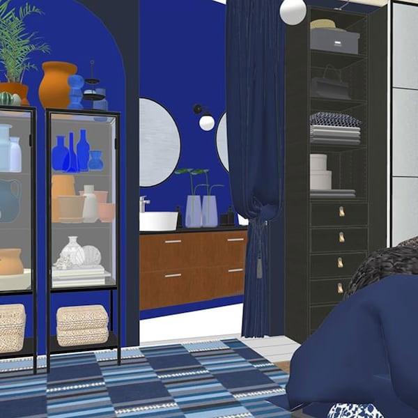 Rendering of blue bedroom, curtain across doorway open to show rendering of bathroom. Blue rug on floor. Black display cabinet and black PAX wardrobe againt wall