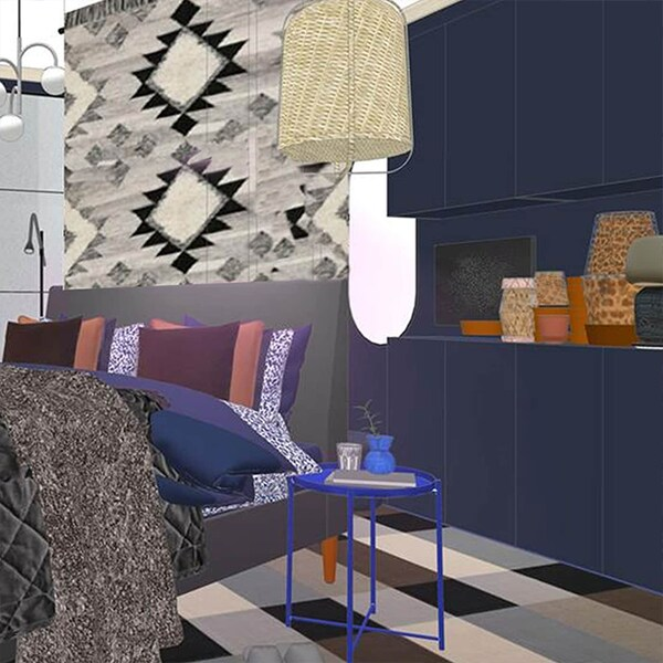 Rendering of blue bedroom. Grey bed frame with grey and blue bed textiles. Small blue nightstand
