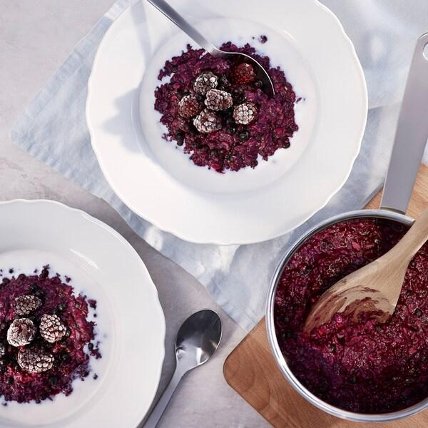 Ricetta – Porridge aromatizzato ai mirtilli.