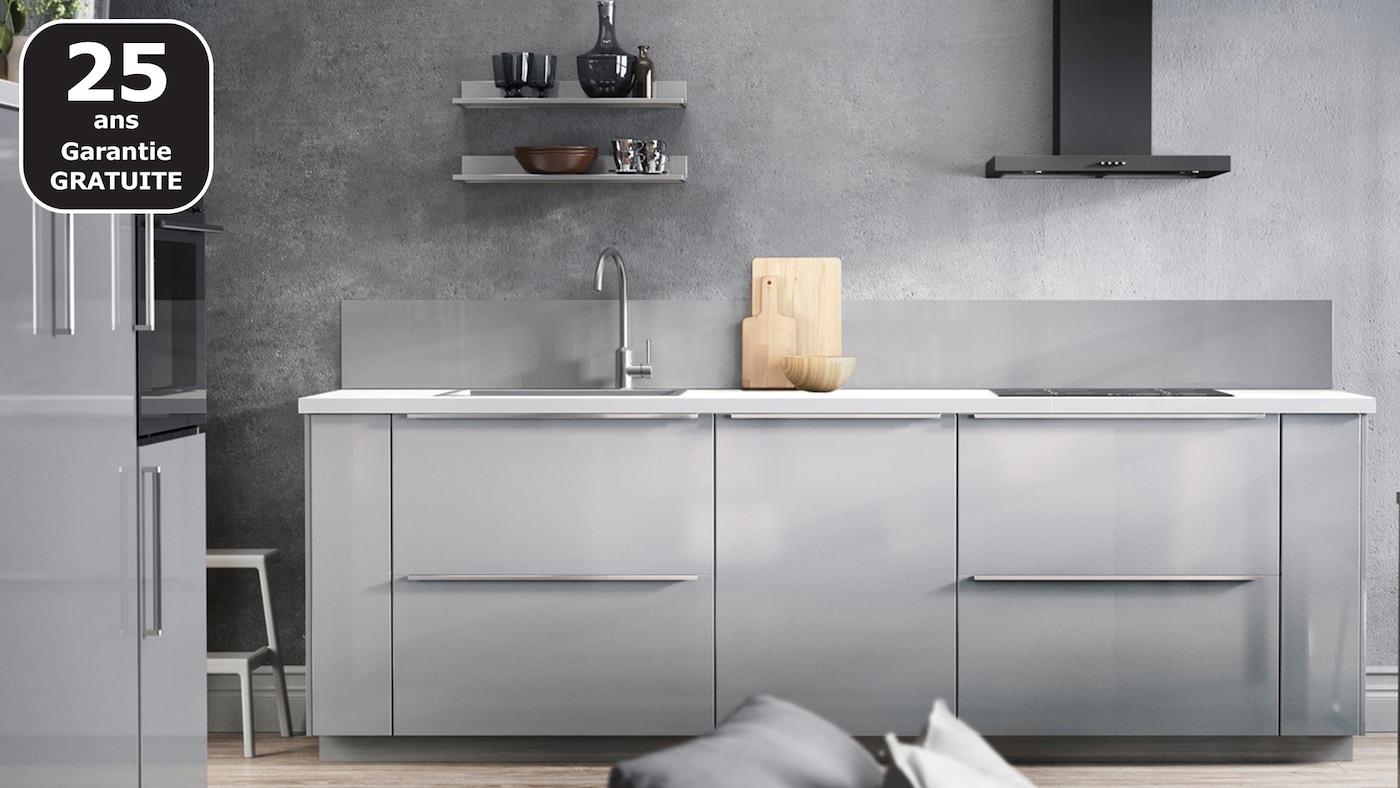 RINGHULT gris clair brillant cuisine IKEA pas chère