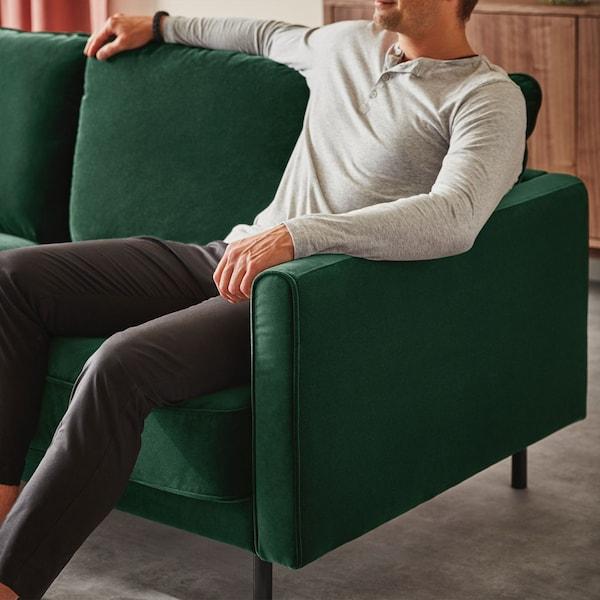 RINGSTORP 3-seters sofa, mørk grønn, svart