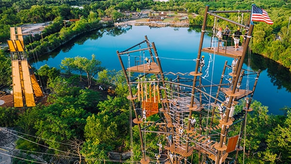 Ropes course and towers at EightTowers Adventure at The Forge: Lemont Quarries