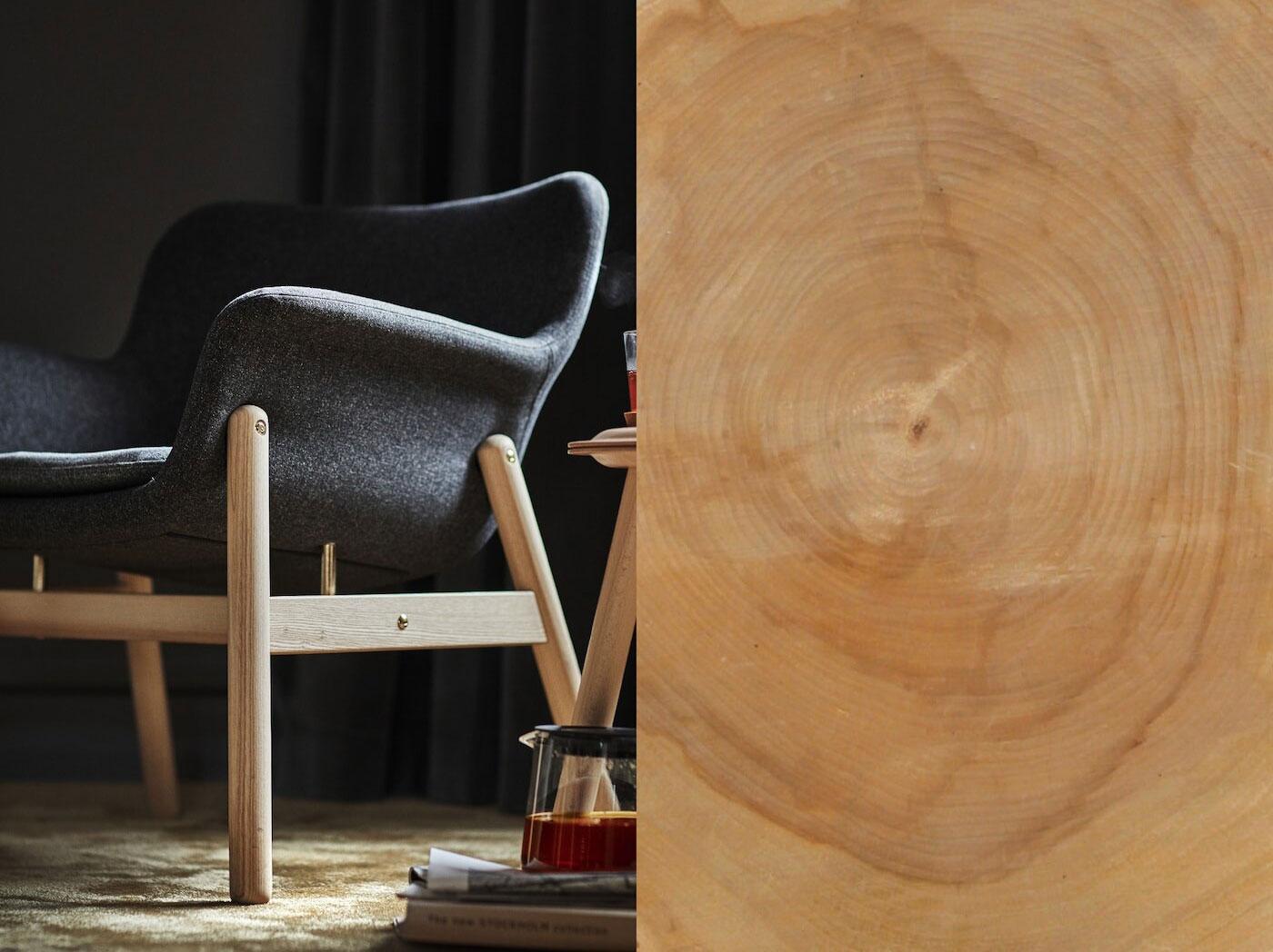 Rozdělená fotografie ukazující dřevěné prkno a hotové křeslo VEDBO s dřevěnými nohami a rámem.