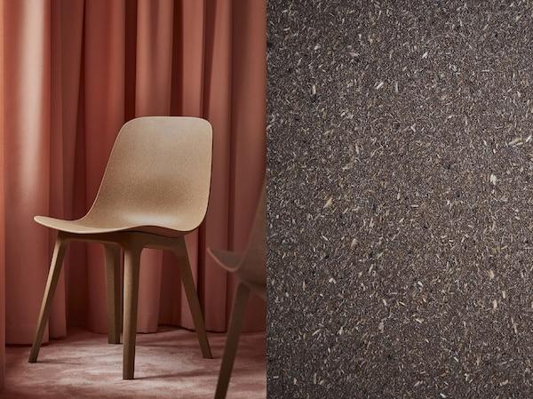 Rozdělená fotografie ukazující jídelní židli ODGER a detailní záběr na přírodní kompozitní materiál.