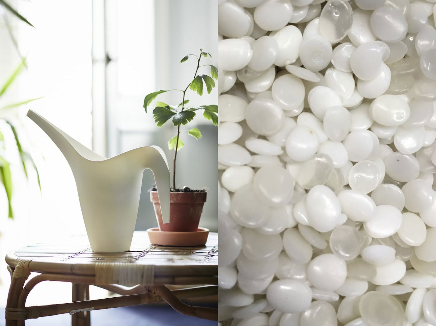 Rozdělená fotografie zobrazující PET plasty a  plastovou bílou konev, která byla vytvořena z těchto materiálů.