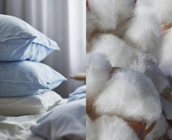 Розділене фото, на якому зображено натуральну бавовну та наволочки і чохли для подушок від IKEA, виготовлені з екологічного бавовняного матеріалу.