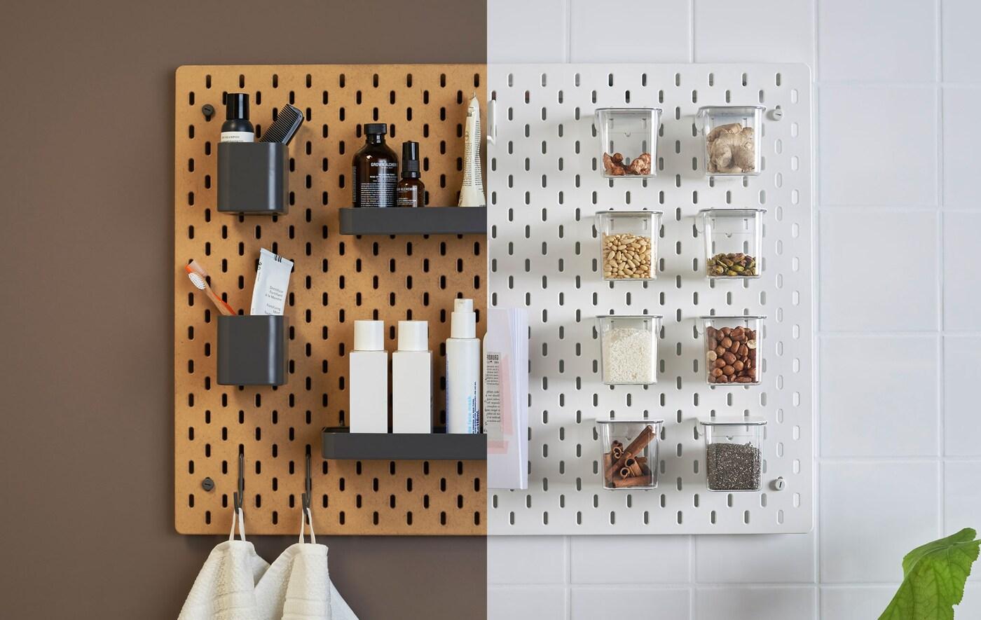 Ruskea säilytystaulu kylpyhuoneessa ja valkoinen säilytystaulu keittiössä kuvattuna rinnakkain