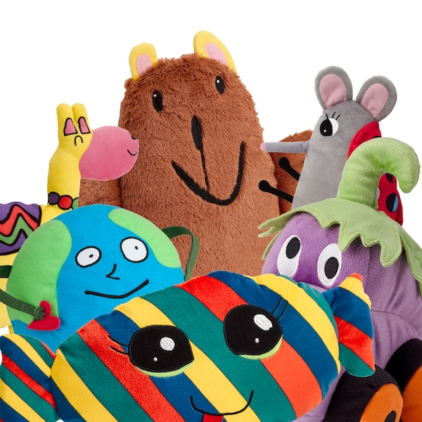 SAGOSKATT soft toys Globe man, Candy, Brown bear, Llama, Ladybug mouse and Eggplant car, close together.