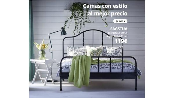 SAGSTUA Estructura cama, negro, 140x200 cm