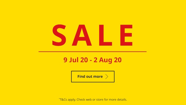 SALE happening from 9 Jul 20 to 20 Aug 20
