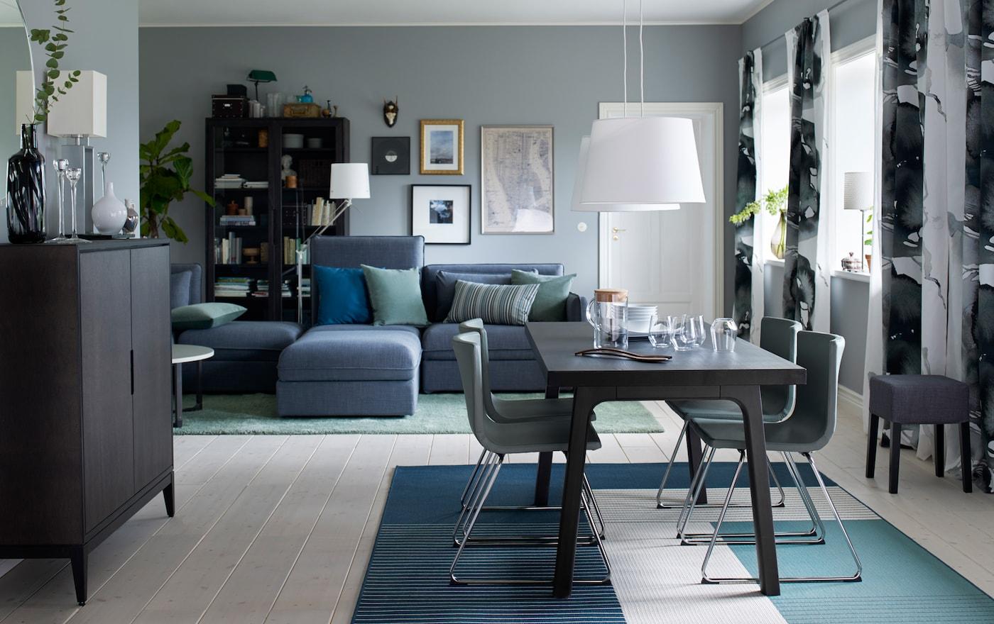 Coin repas élégant en bois et cuir - IKEA