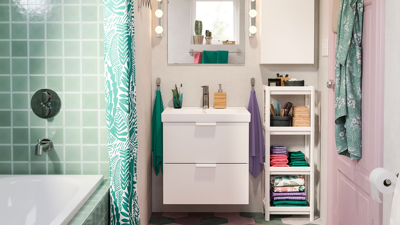 Salle de bain : NORDRANA rangement bleu IKEA