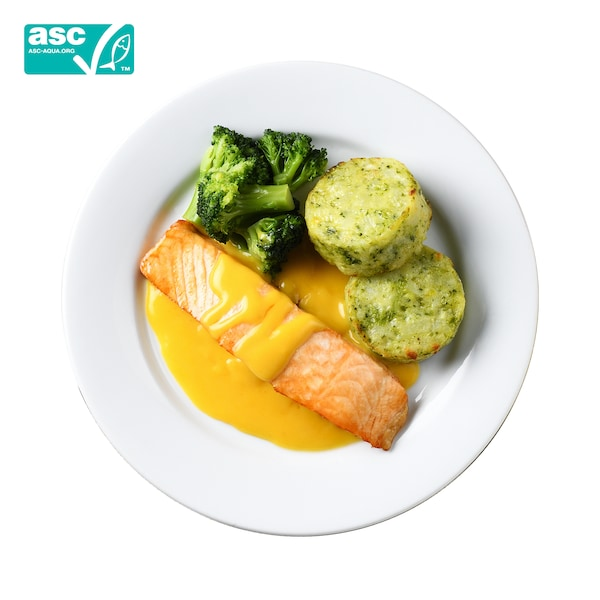 Salmon fillet with hollandaise sauce and vegetable medallion