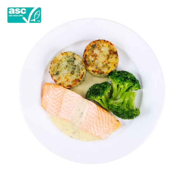 salmon fillet with mashed potato and broccoli