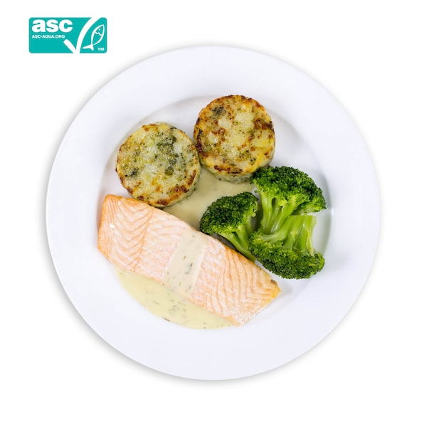 Salmon Fillet with Vegetables Medallion and Creamy Lemon Chive Sauce