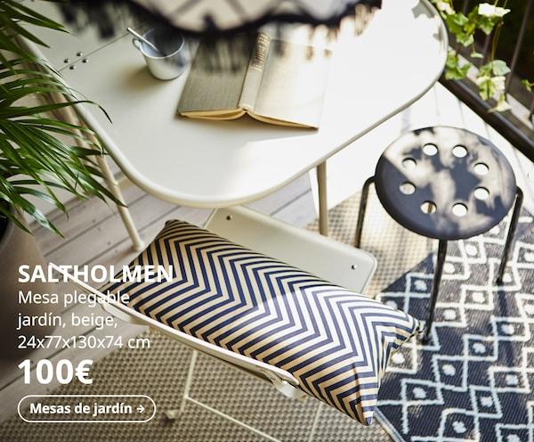 SALTHOLMEN Mesa plegable jardín, beige, 24x77x130x74 cm