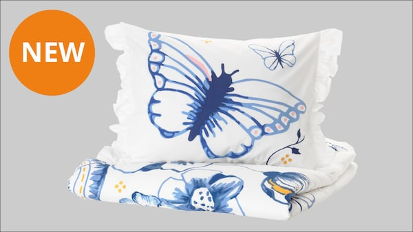 SÅNGLÄRKA Duvet cover and pillowcase, butterfly, white blue, Twin.