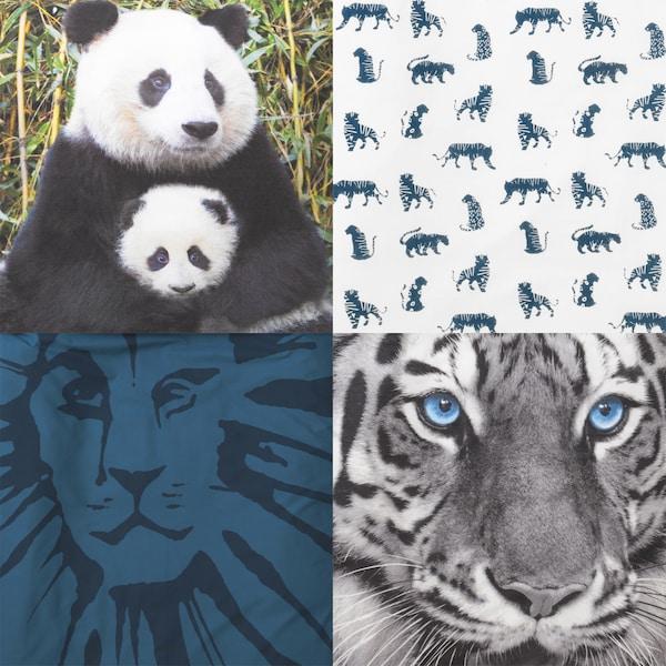 Šare s motivima pande, tigrova, lavova i leoparda.