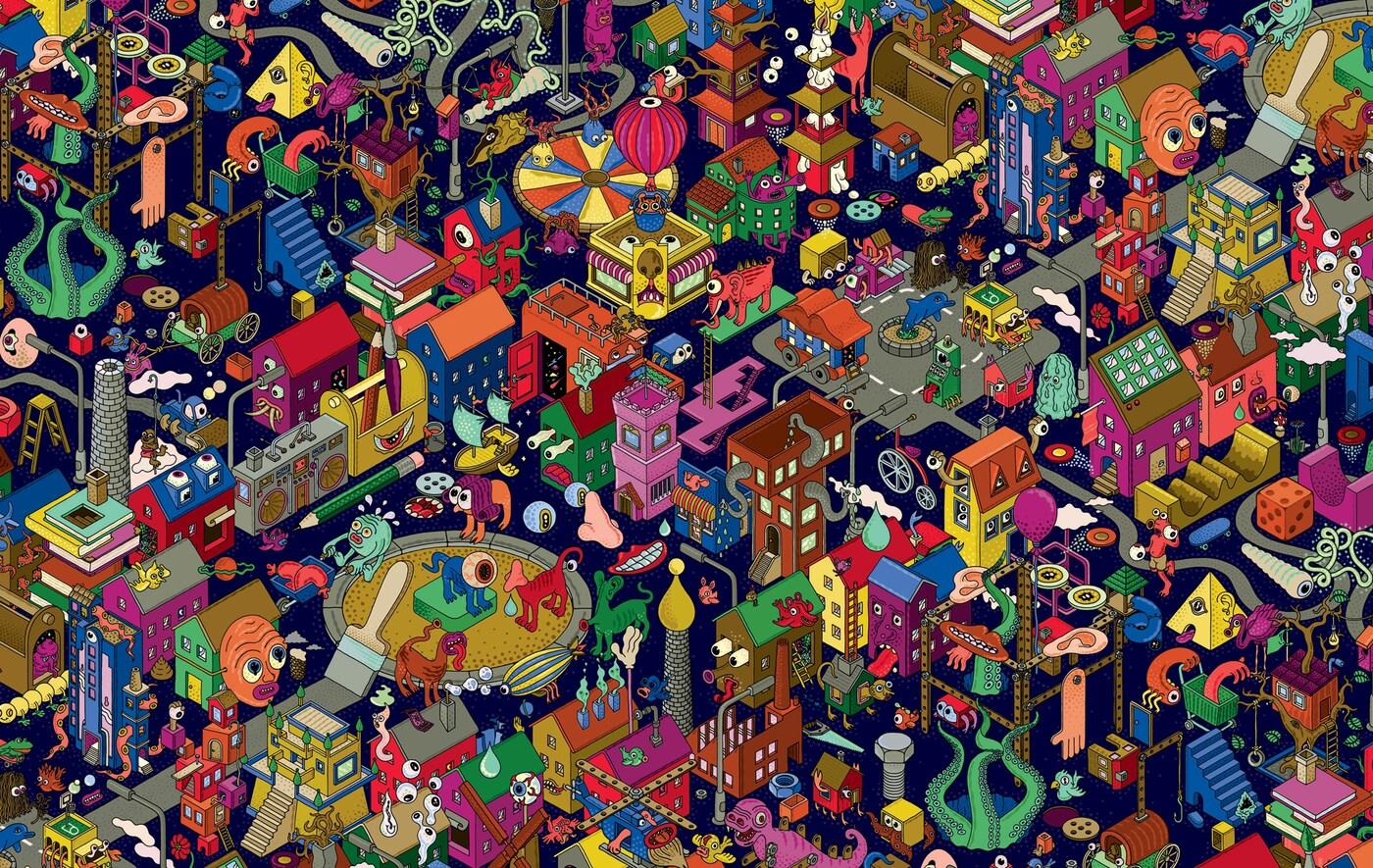 Šarena ilustracija izmišljenog grada.