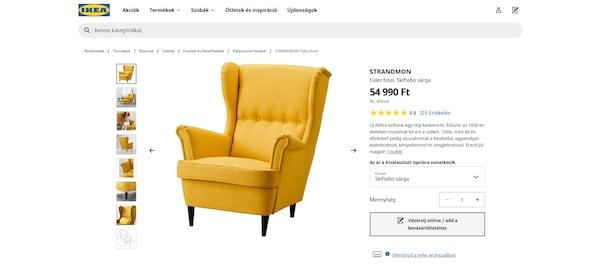 Sárga STRANDMON fotel az IKEA weboldalán, részletes termékinformációkkal, árral, leírással és értékeléssel.