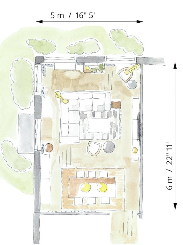 Schiță care prezintă amplasarea mobilierului și spațiilor de depozitare pentru zonele de luat masa și living în aceeași cameră.