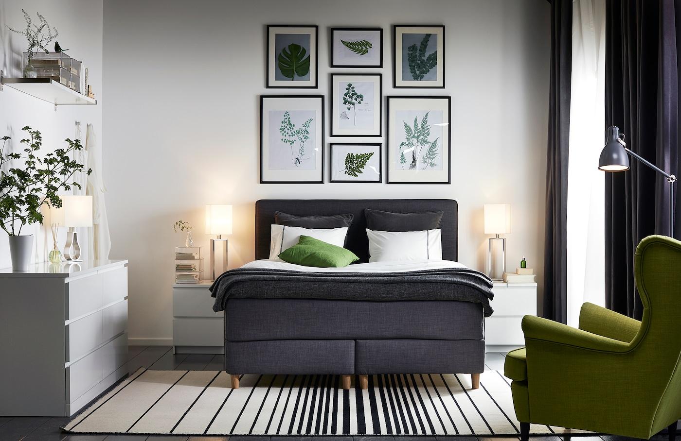 Helles Schlafzimmer mit Boxspringbett einrichten - IKEA ...