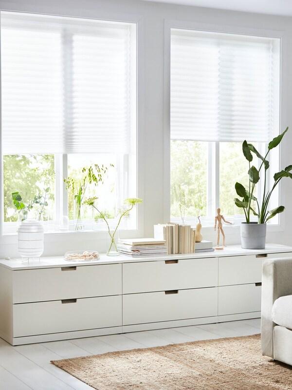 """SCHOTTIS Store plissé, blanc 35 ½x74 ¾ """" (90x190 cm)"""