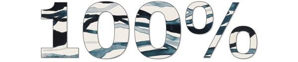 Schriftzug der 100% zeigt, welcher für 100% Baumwolle aus nachhaltigeren Quellen steht