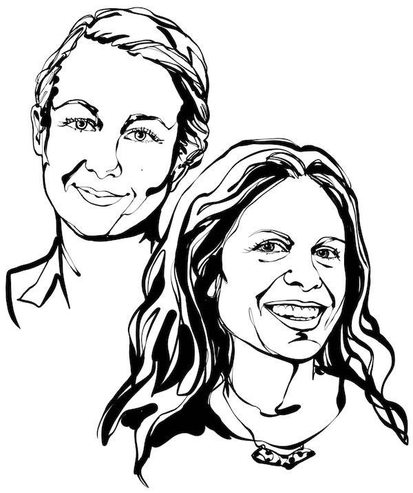 Schwarz-Weiß-Zeichnung der Gesichter der beiden Inneneinrichterinnen aus diesem Text, Jenny Wik und Emilia Ljungberg.