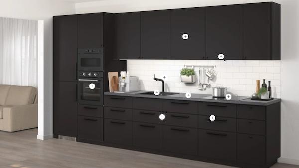 Schwarze KUNGSBACKA METOD Küchenzeile