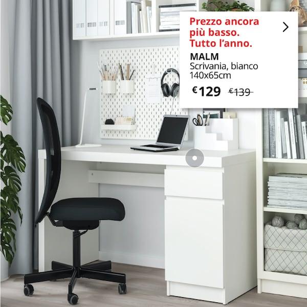 Scrivania bianco MALM con sedia da ufficio - IKEA