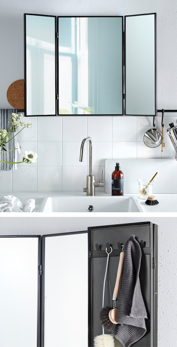 See what's happening behind you while you wash-up! Put up a mirror over the sink. Try IKEA KARMSUND table mirror!