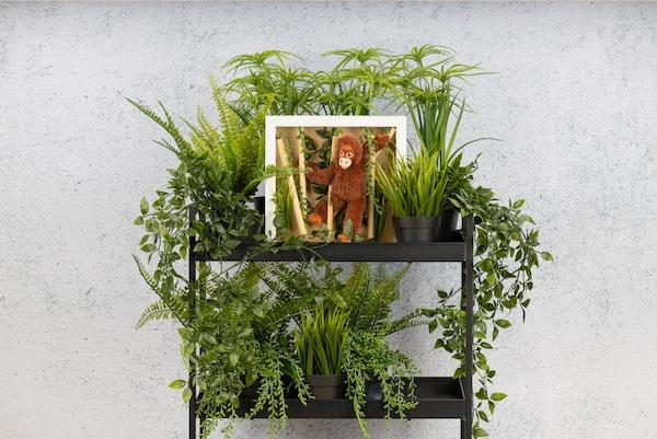 Selbstgebastelte Dschungel Deko mit einem RIBBA Rahmen steht in einem Regal.