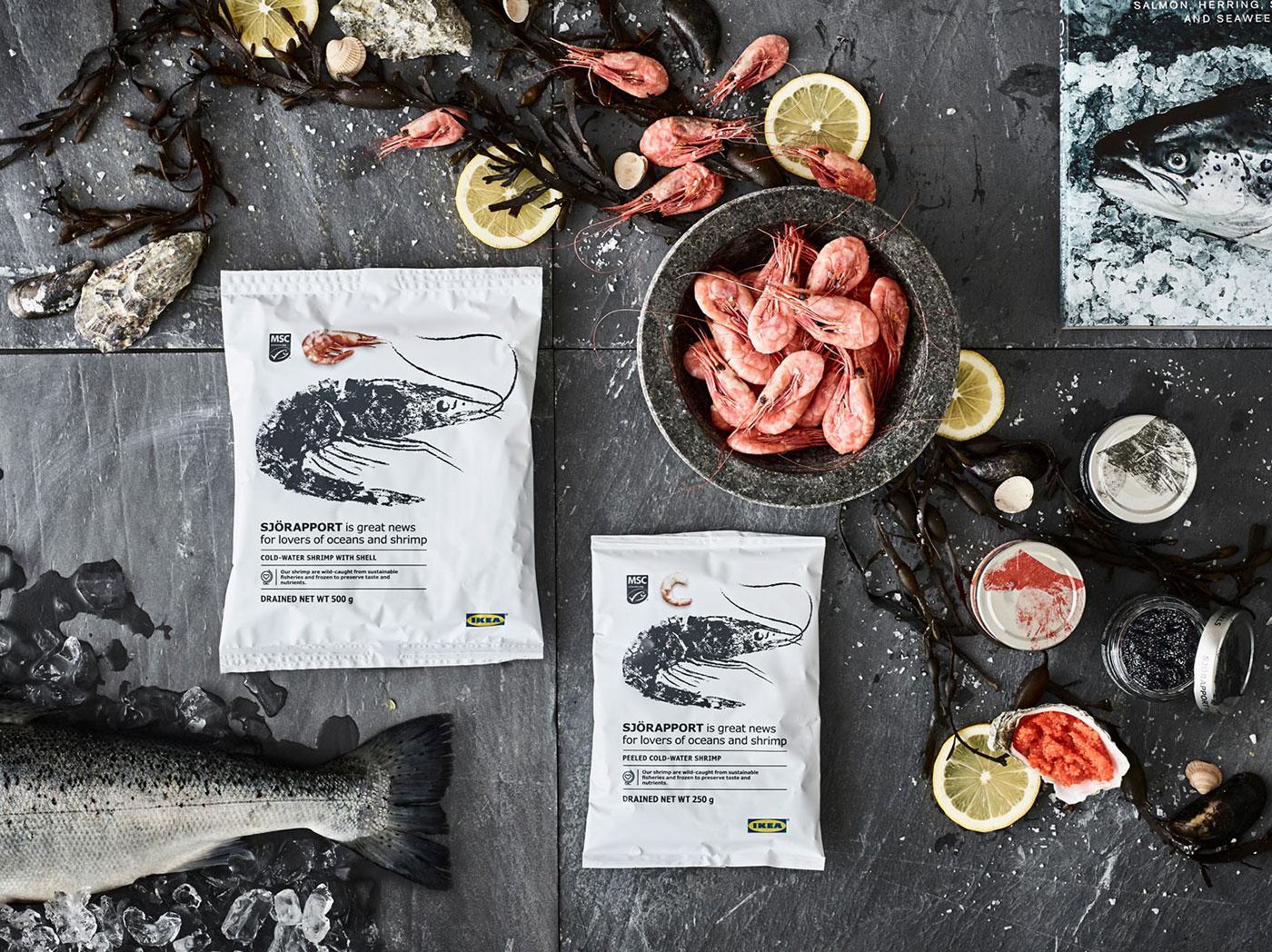 Séria  SJÖRAPPORT – krevety, ryby a kaviár.